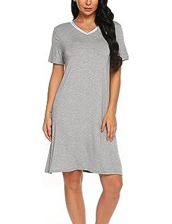 9be8f51788 Sweetnight Women Nightgown Short Sleeve Scoop Neck Sleepwear Lace Trim Sleep  Shirt Night Dress