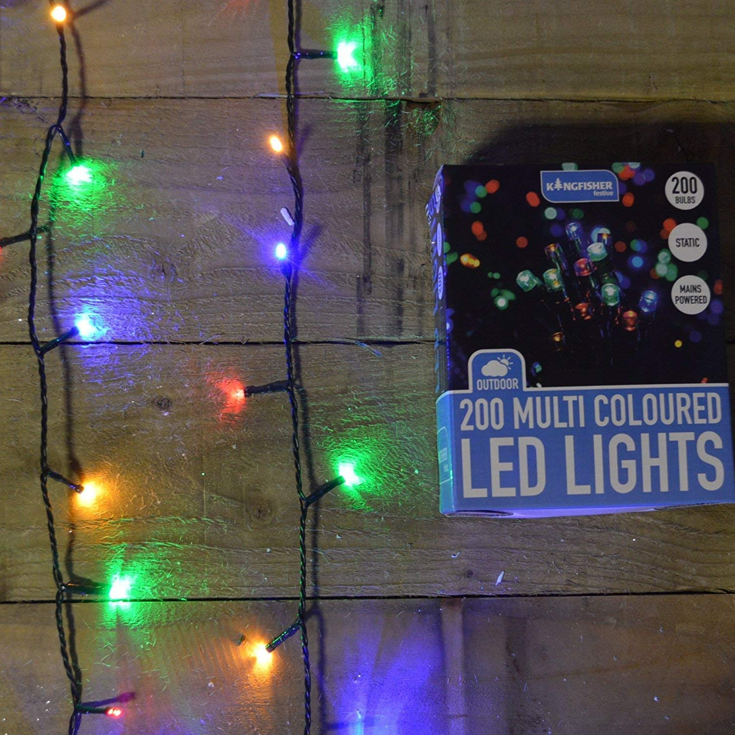 200 Multi Colored Static LED Christmas Lights - Outdoor or Indoor Kingfisher PROCL200MC