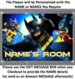 Personalised XL Size LEGO BATMAN MOVIE Bedroom Door Plaque - Plaque Size 16.5cm by 11.5cm - An Ideal Gift