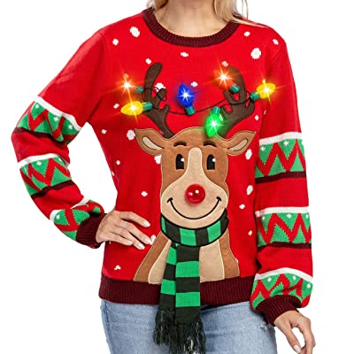 Womens LED Light Up Reindeer Ugly Christmas Sweater Built-in Light Bulbs at Amazon Women's Clothing store