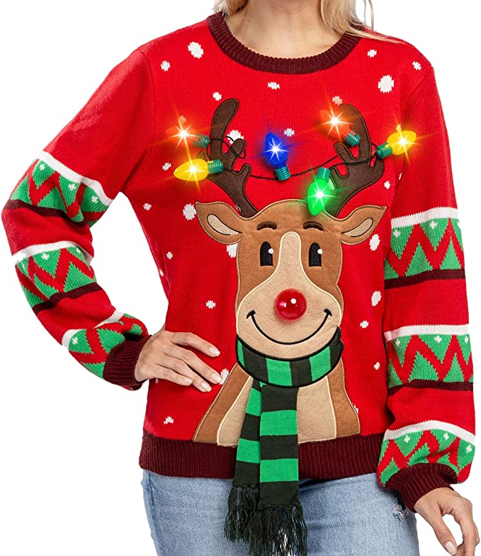 Womens LED Light Up Reindeer Ugly Christmas Sweater Built-in Light Bulbs ugly christmas sweaters for women