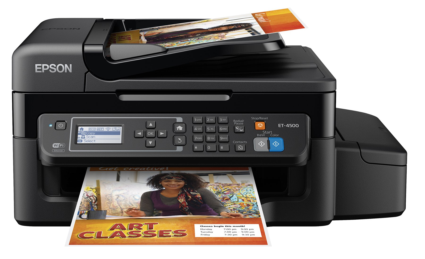 Epson WorkForce ET-4500 EcoTank Wireless Color All-in-One Supertank Printer with Scanner, Copier, Fax, Ethernet, Wi-Fi, Wi-Fi Direct, Tablet and Smartphone (iPad, iPhone, Android) Printing, Easily Refillable Ink Tanks