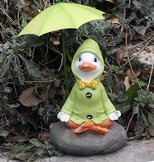 Puddle Duck Squatting with Green Umbrella Ornament