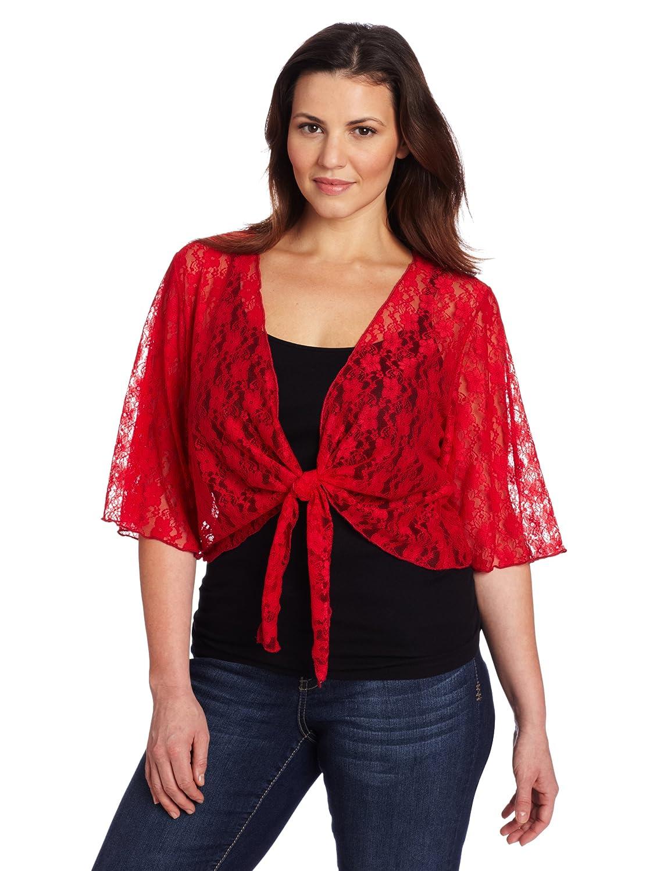 Star Vixen Women's Plus-Size 3/4 Sleeve Lace Tiefront Shrug Sweater Star Vixen Child Code 7612-LA-X