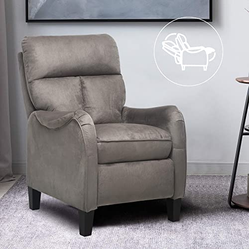 ULTIFIT Accent Massage Recliner Chair Mid-Century Style Arm Chair Microfiber Recliner Chair Modern Push Back Recliner Grey