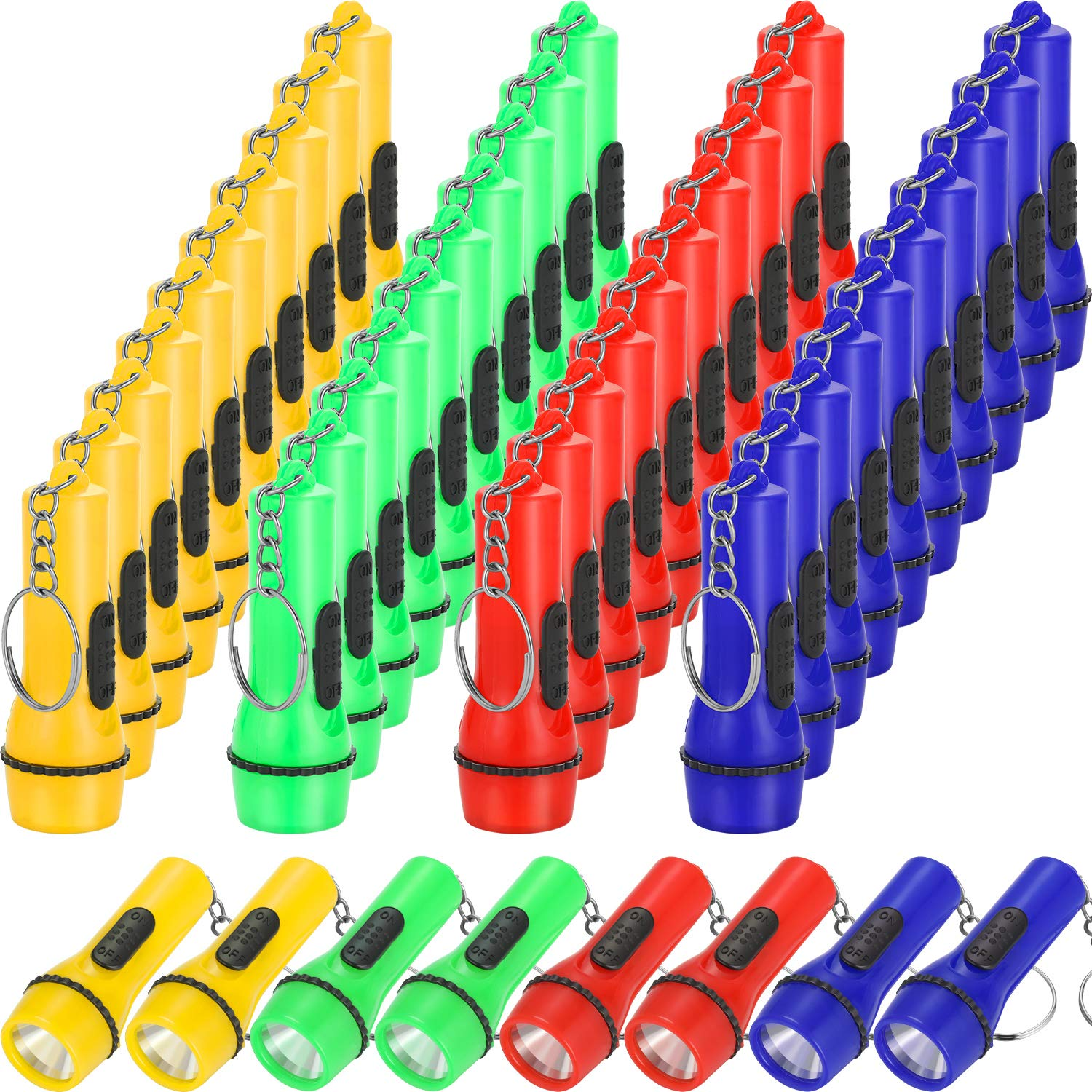 48 Pieces Mini Flashlight Keychain Assorted Colors Toy Flashlight for Hiking Camping Party Favors by Boao