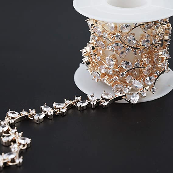 Amazon.com  XIAOTAI Zircon Rhinestone Trims 1 Yard Diamond Inlaid Champagne  Gold Rhinestones for Crafts Clothing and Bridal Bouquet Embellishments ... f090092f4af0