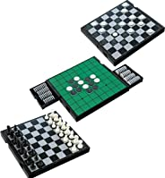 IQ Toys 3 in 1 Travel Magnetic Chess, Checkers and Reversi Set with Foldable Board and Built in Storage Drawers