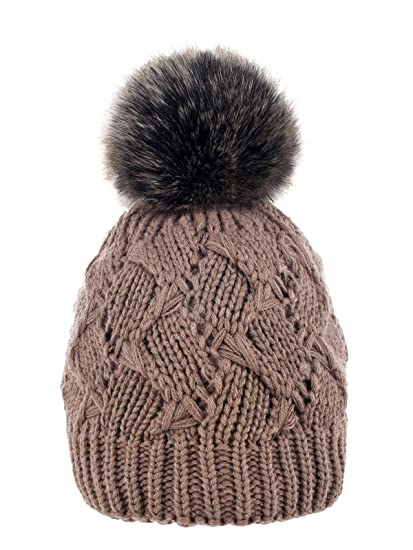 5754792711a Futrzane Women Cable Knit Beanie Hat with a Faux Fur Pompom (Brown -  Siberian Brown