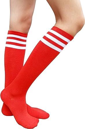 AM Landen 3 Pairs Black//White Stripe Knee High Socks Stripe Socks Knee Socks
