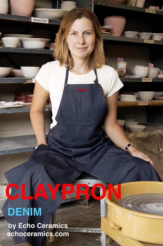 CLAYPRON Artist Kitchen Split Apron (Blue Denim) 819WSRn8niL