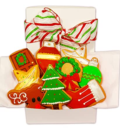 Happy Holiday Christmas Cookie Gift Basket Decorated Vanilla Sugar Cookies Set Of 9 Christmas