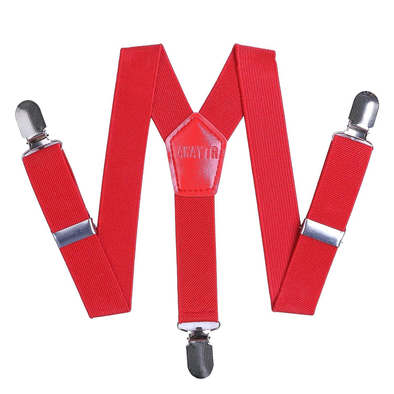 AWAYTR Kids Boys Girls Y-Back Suspender Elastic Adjustable Clip-On Braces