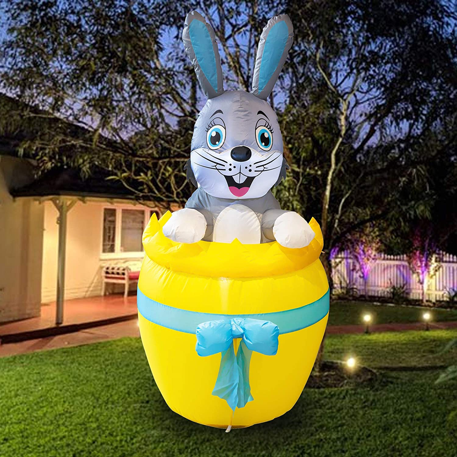 FUNPENY 5 Feet Inflatable Easter Day Decoration, Blow Up Grey Bunny in Yellow Egg Lighted Decor for Indoor Outdoor Lawn Yard