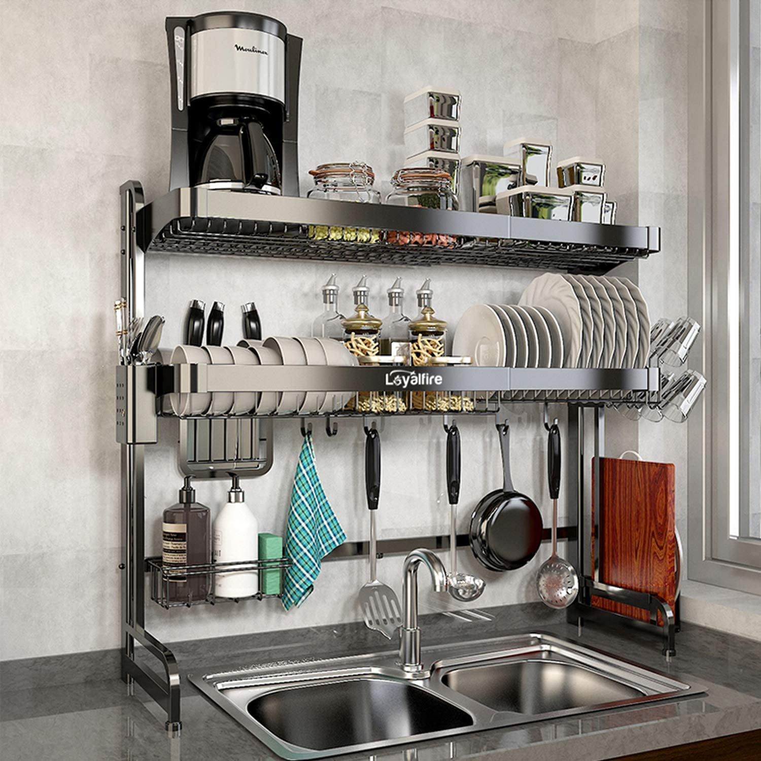 Over Sink Dish Drying Rack, Loyalfire 2 Tier Stainless Steel Storage Expandable Kitchen Dish Rack (24.4'' - 38.19''), Large Dish Drainer Shelf Adjustable Rack with Utensil Holder and Cup Hanging Set