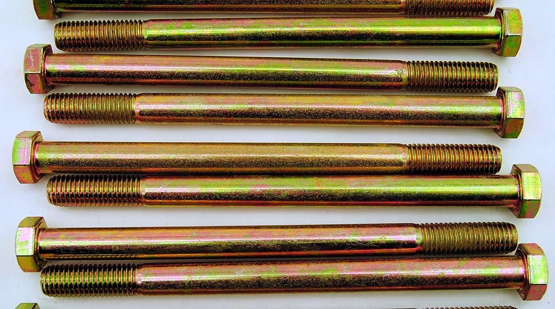 Hex Head 5//8-11 x 9 Grade 8 Bolts Yellow Zinc Cap Screws 6