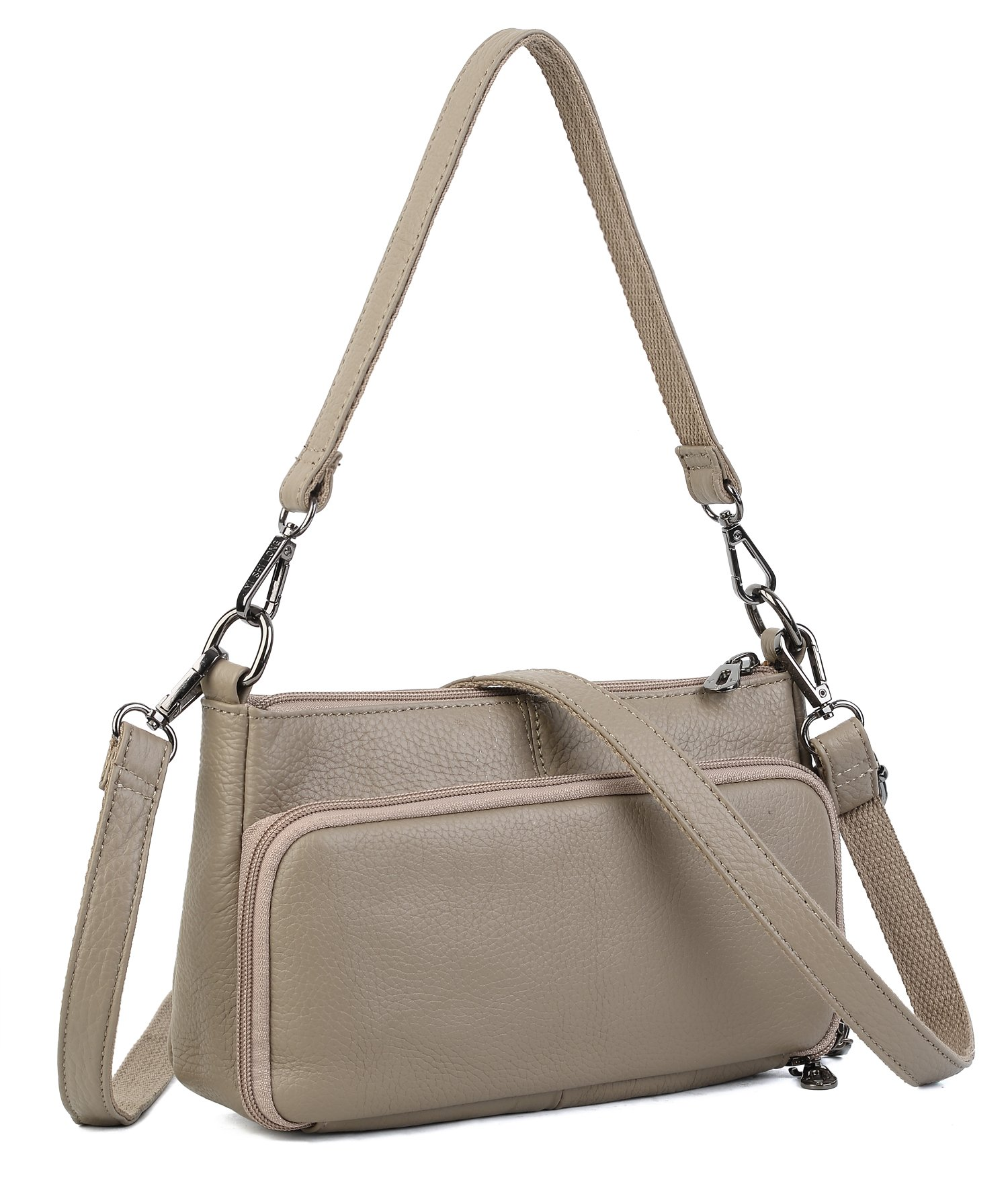 YALUXE Women's Small Size Crossbody Bag Leather Mini Purse with 6 Card Slots and fit 5.5'' Smartphone Grey