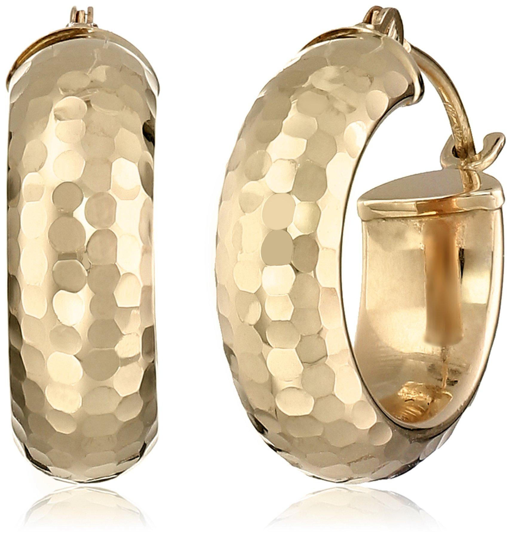 14k Yellow Gold Diamond-Cut Hoop Earrings
