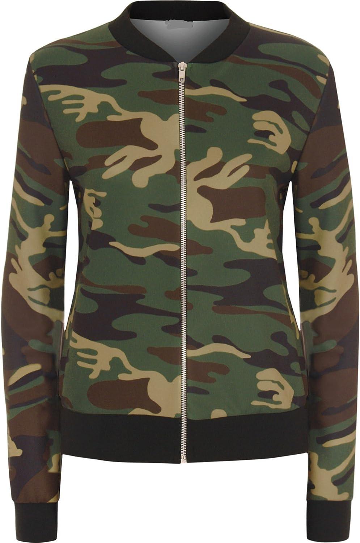Women Ladies Army Camouflage Print Bomber Biker Jacket Long Sleeve Zip Up Top UK