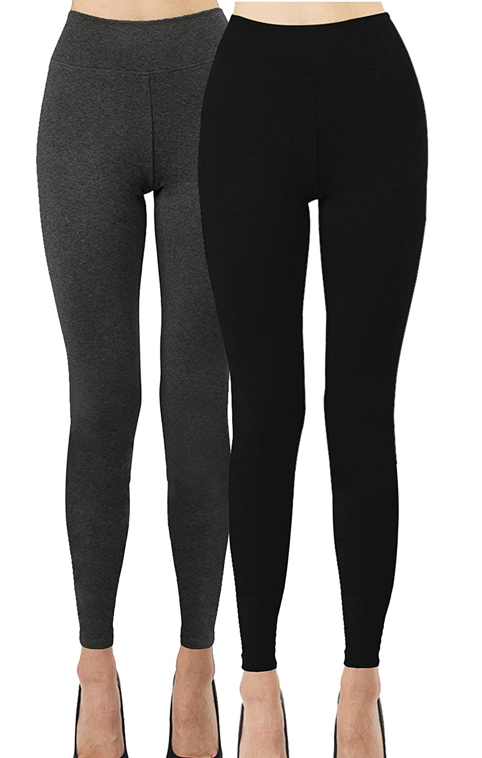 2d12f64518dc3e iLoveSIA Women's Yoga Pants Cotton Leggings Pack of 2 at Amazon Women's  Clothing store: