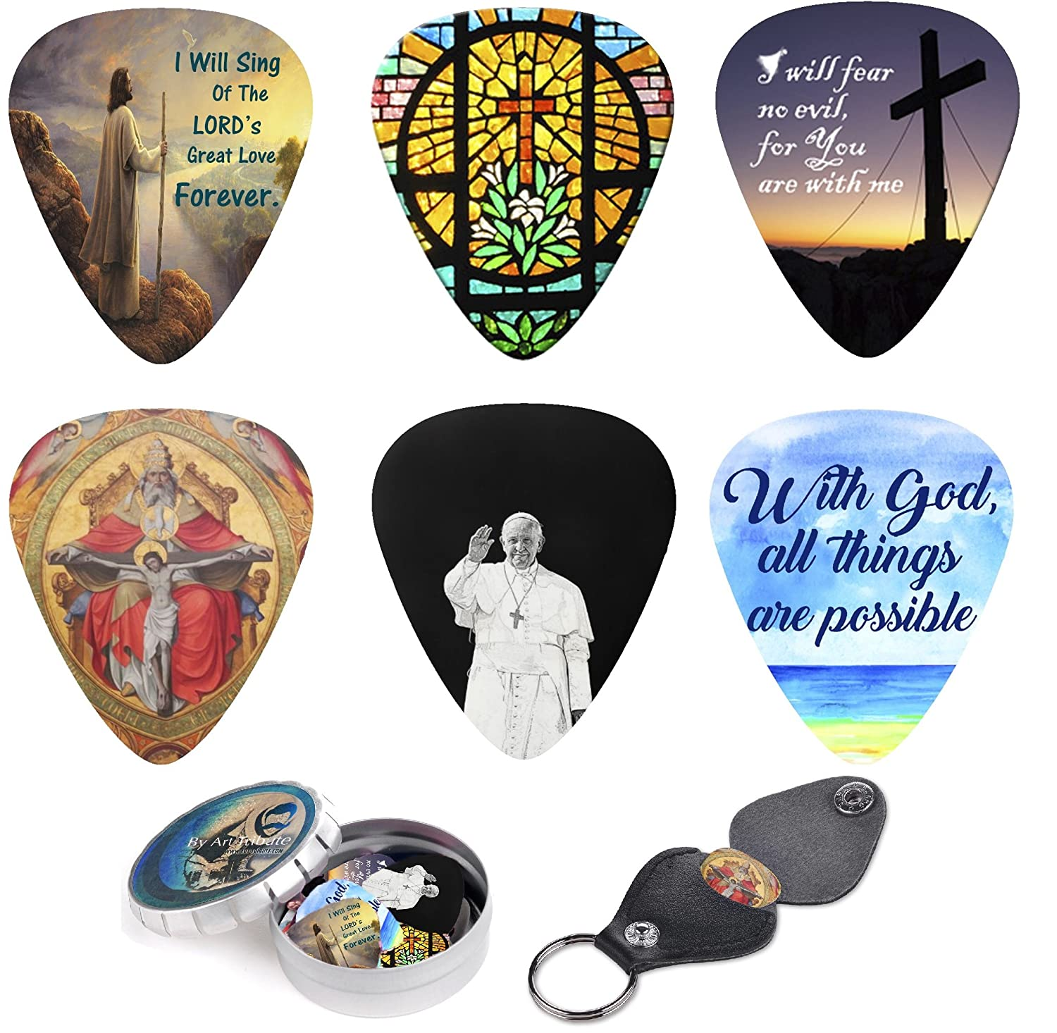 Amazon.com: Christian Guitar Picks - 12 Medium Celluloid Plectrum W ...