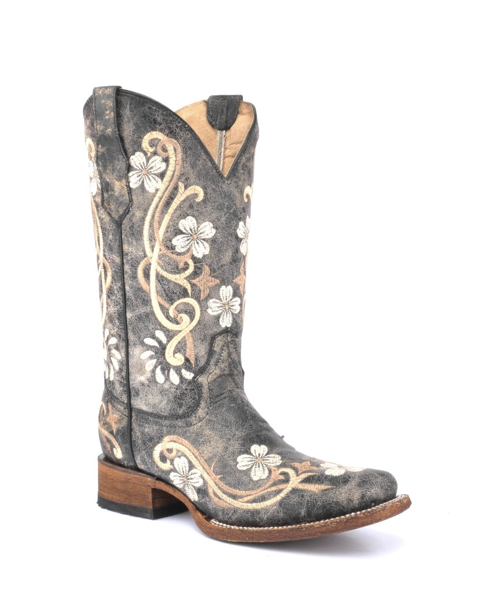 Corral Circle G Women's Honey Cowhide Cowgirl Boot Square Toe Honey 7.5 M US