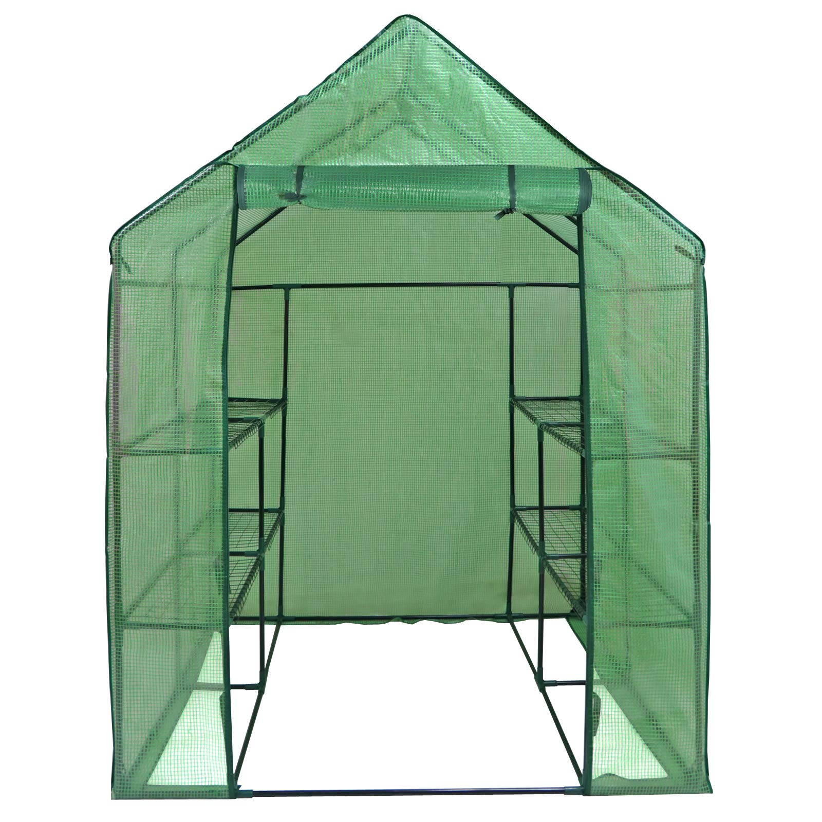 ZENY Mini Walk-in Greenhouse with PE Cover Portable Plants Flower Garden House Indoor Outdoor 2 Tiers 8 Shelves and Roll-up Zipper Door 57''(L) x 57''(W) x 77''(H) by ZENY