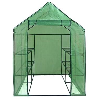 ZENY Mini Walk-in Greenhouse with PE Cover Portable Plants Flower Garden House Indoor Outdoor 2 Tiers 8 Shelves and Roll-up Zipper Door