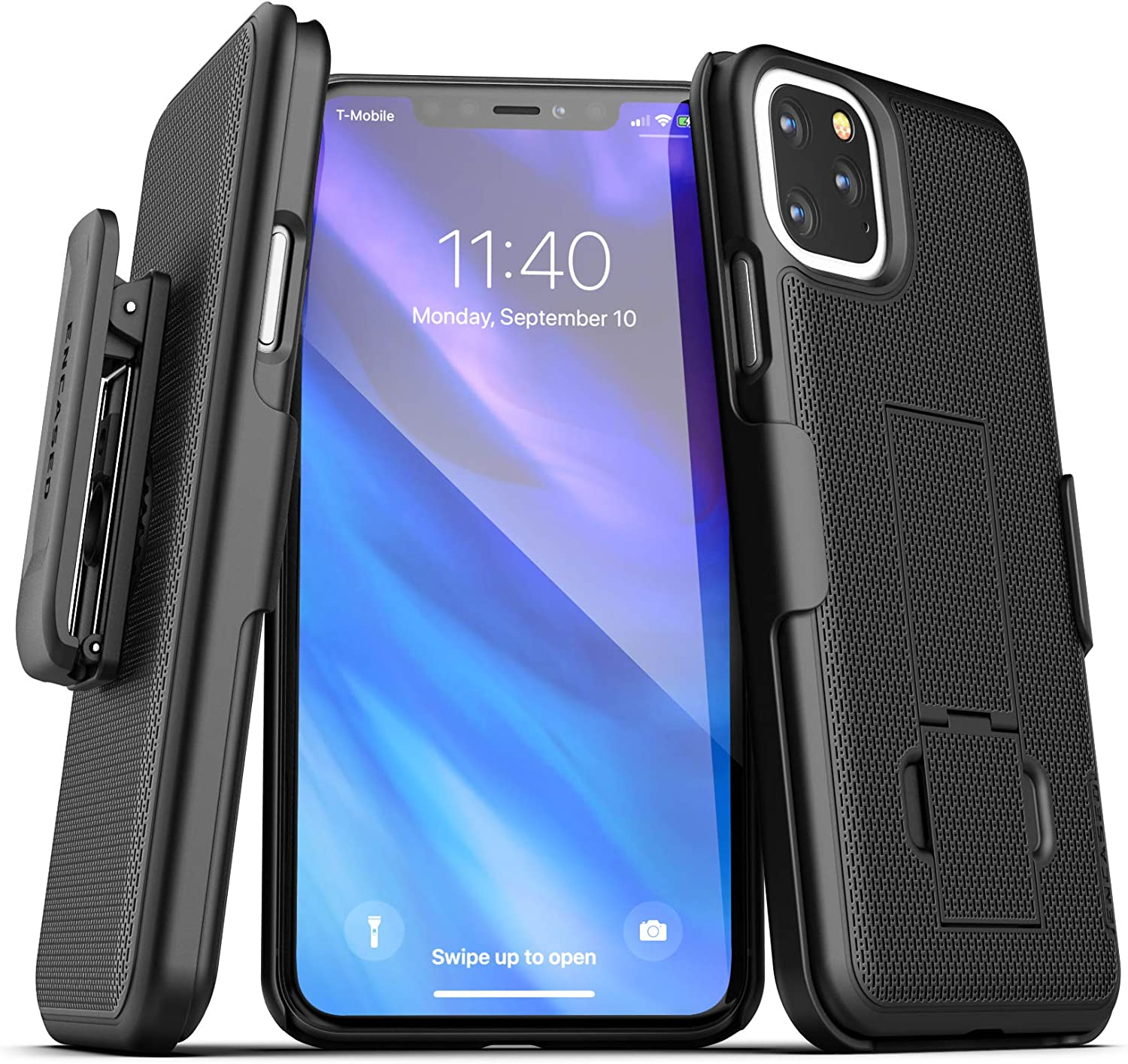 Encased iPhone 11 Pro Max Belt Clip Case (2019 DuraClip) Ultra Slim Cover with Holster (Black)