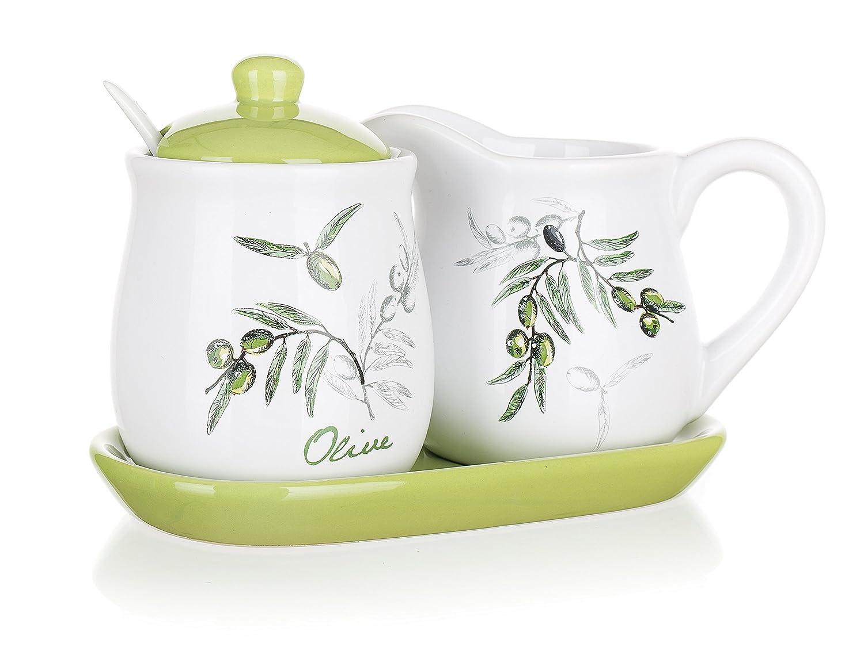 Banquet Olives Set of Milk Jug and Sugar Bowl Ceramic 11 x 19 x 10.5 cm White//Green