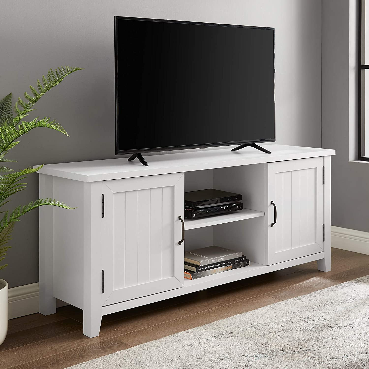 "Walker Edison Modern Farmhouse Grooved Wood Stand with Cabinet Doors 65"" Flat Screen Universal TV Console Living Room Storage Shelves Entertainment Center, 58 Inch, White"