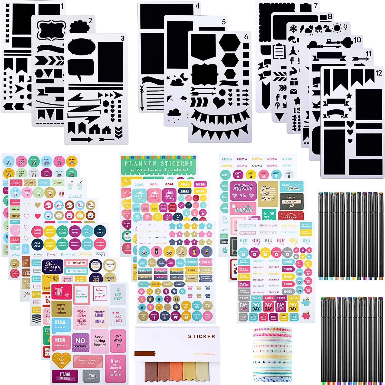Kit de 69 Materiales de Diario con Plantilla de Diario Cinta Adhesiva de Papel Bolígrafo Colorido Pegatinas y Etiquetas Adhesivas para Scrapbook Diario Cuaderno DIY Plantilla de Dibujo de Plástico