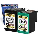 Alaskaprint Refilled Cartouches d'encre Remplacement pour hp 337 xl + hp 343 xl (Noir, Couleur 2-Pack)