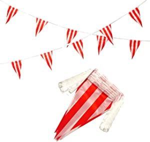 AuTop 100 Feet Red & White Striped Pennant Banner Flags String 60 PCS Indoor/Outdoor Triangle Bunting Flags,Party Decorations Supplies for Carnival Circus,Kids Birthday,Festival Celebration