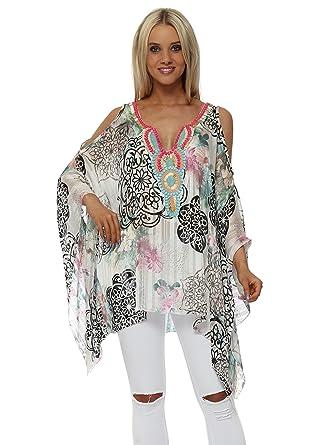 261102f65d5cf Troiska Floral Print Embellished Cold Shoulder Kaftan Top One Size  Multicolour  Amazon.co.uk  Clothing