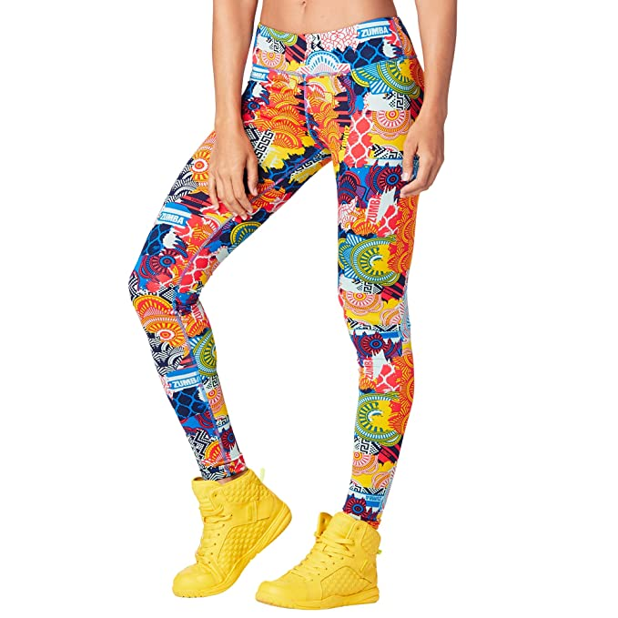 819c13db8196b Amazon.com: Zumba Wide Waistband Workout Athletic Print Capri Compression  Leggings For Women: Clothing