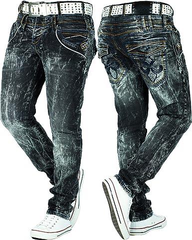 Cipo & Baxx Herren Jeans Freizeit Hose Clubwear Biker Denim Disco Dicke Naht:  Amazon.de: Bekleidung