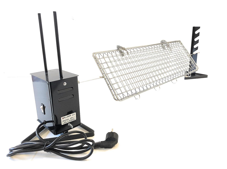 Girarrosto Elettrico Plus con Spiedo ACCIAIO INOX piatto cm 95 Coppia fermacarne inox Griglia spiedo 50 x 22 ALLEGRI GIRARROSTI