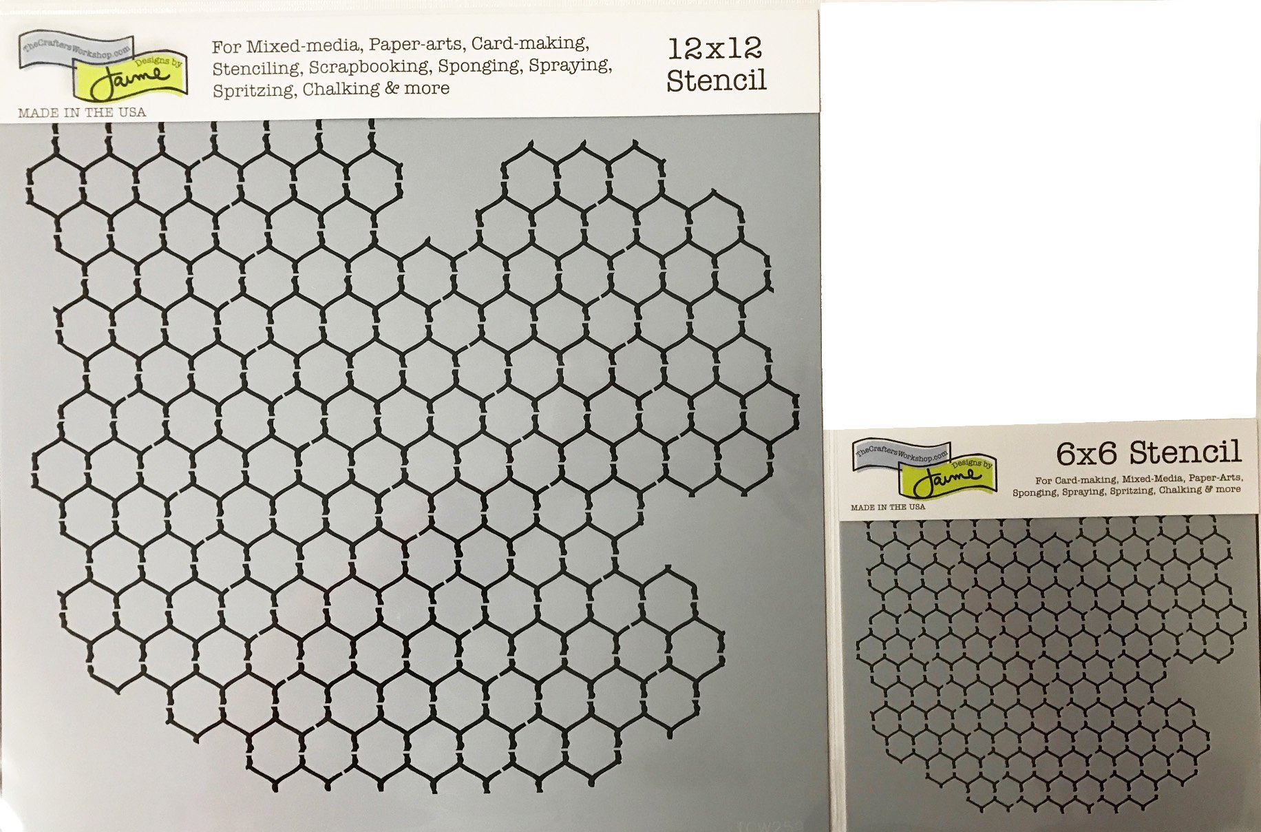 The Crafter's Workshop Set of 2 Stencils – Chicken Wire Reversed 12x12 Large and 6x6 inch Mini - Includes 1 each TCW259 and TCW259s - Bundle 2 Items