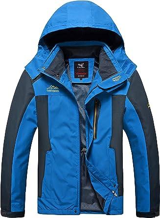 4How Veste Softshell Homme Blouson à Capuche Amovible Coupe Vent Imperméable Respirante Outdoor Jacket Léger Mi Saison