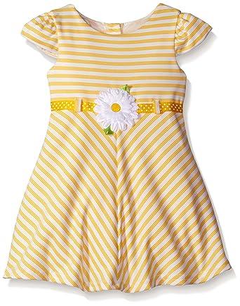 282b7c4a819e Youngland Little Girls' Textured Ottoman Striped Knit Dress with Daisy,  Yellow, 6X