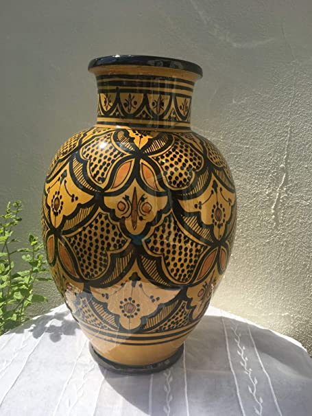 Large Moroccan Vase In A Traditional Yellow Pattern Amazon Co Uk Kitchen Home