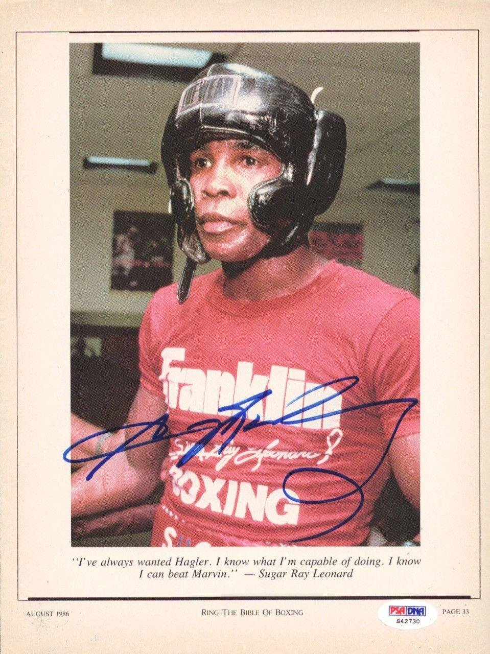 Sugar Ray Leonard Autographed Signed Magazine Page Photo S42730 PSA/DNA Certified Autographed Boxing Magazines