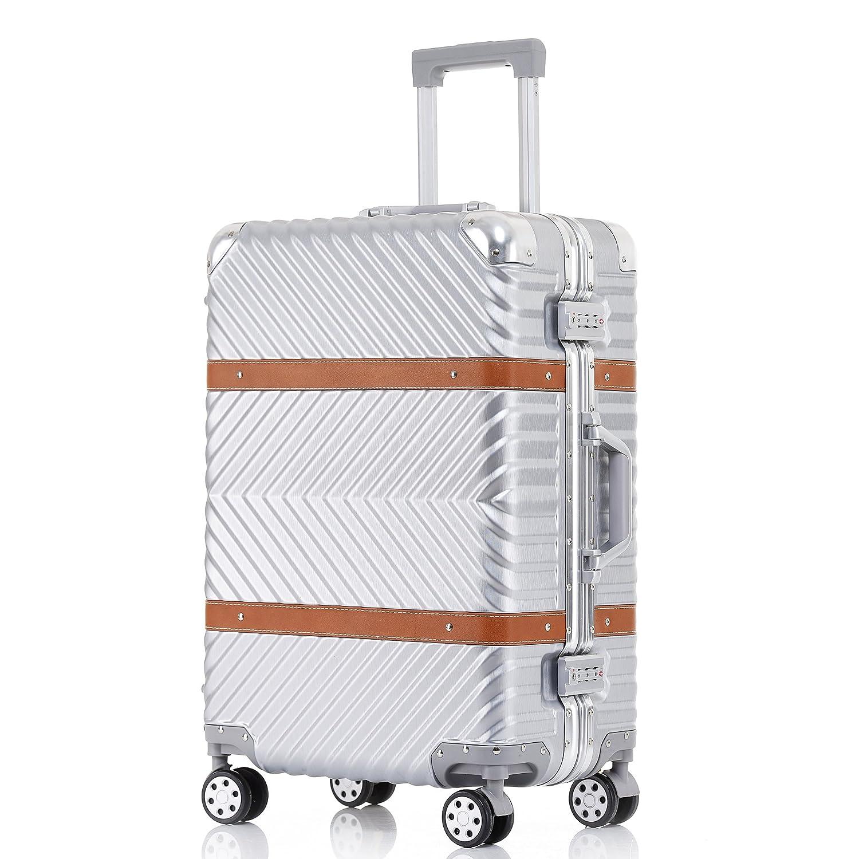TABITORA(タビトラ) スーツケース 大型 8輪 TSAロック キャスター交換可能 止まれる 出張 軽量 大容量 静音 旅行用品 アルミフレーム B01LL2726K XLサイズ 大型92L 7泊以上|シルバー シルバー XLサイズ 大型92L 7泊以上
