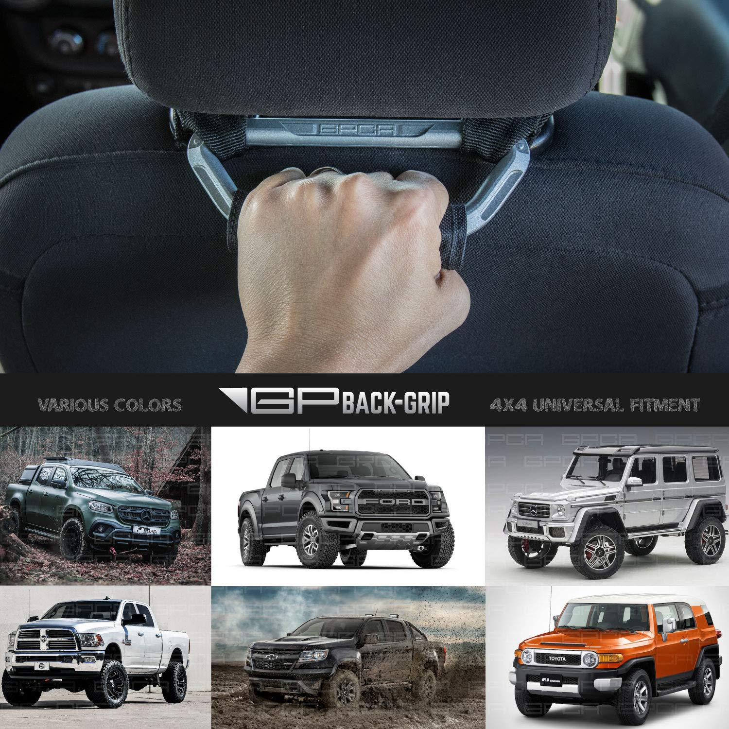 GPCA Headrest Grab Handles for All Jeep and Cars with headrest Poles GP-Back-Grip for 4X4 Off-Road Backseat Passengers RED D5//8//16mm