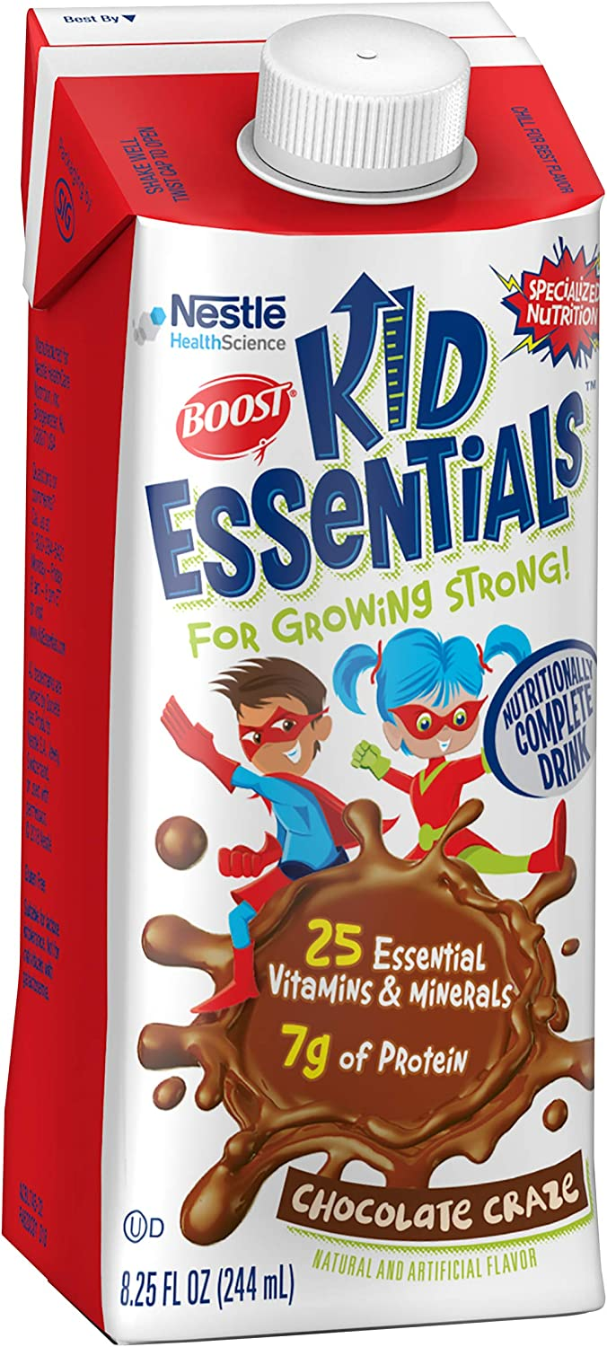 Boost Kid Essentials Nutritionally Complete Drink, Chocolate, 8.25 Ounce Box (Pack of 16)