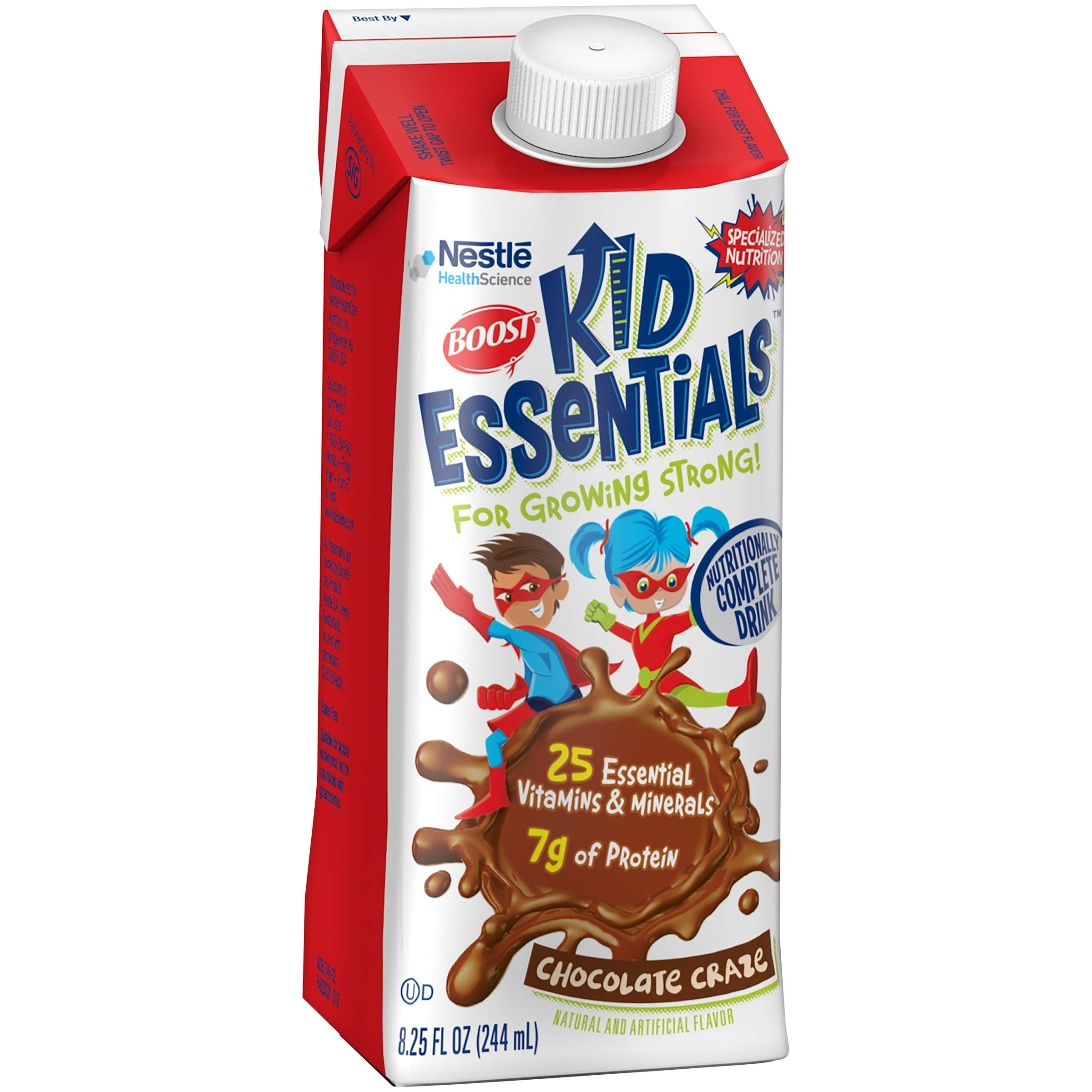 Boost Kid Essentials Nutritionally Complete Drink, Chocolate, 8.25 fl oz box, 16 Pack (Packaging May Vary) by Boost Kids Essentials
