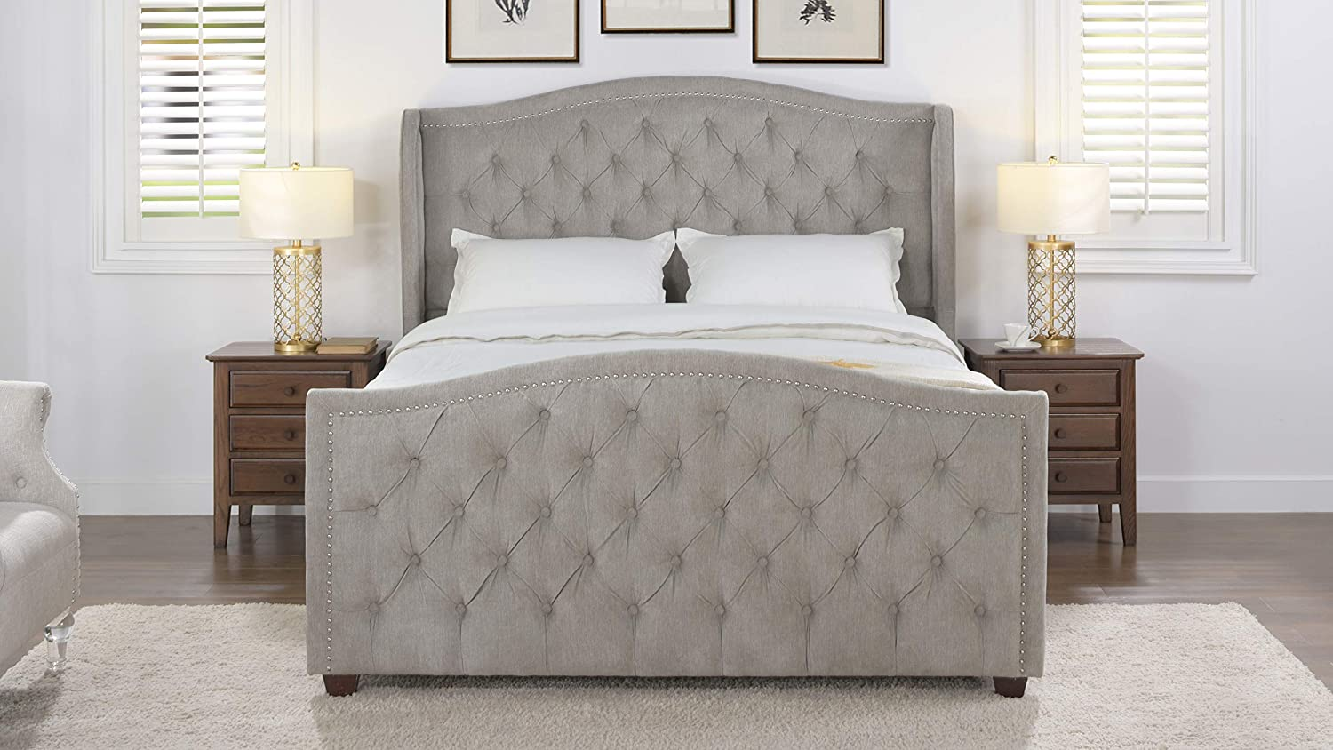 Jennifer Taylor Home Marcella Collection Queen Wingback Tufted Hand-Applied Nail Heads Upholstered Bed, Silver Grey