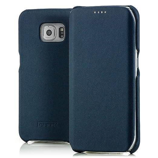9 opinioni per iCarer Custodia Vera Pelle per Samsung Galaxy S6 Edge Etui Flip Case Leather