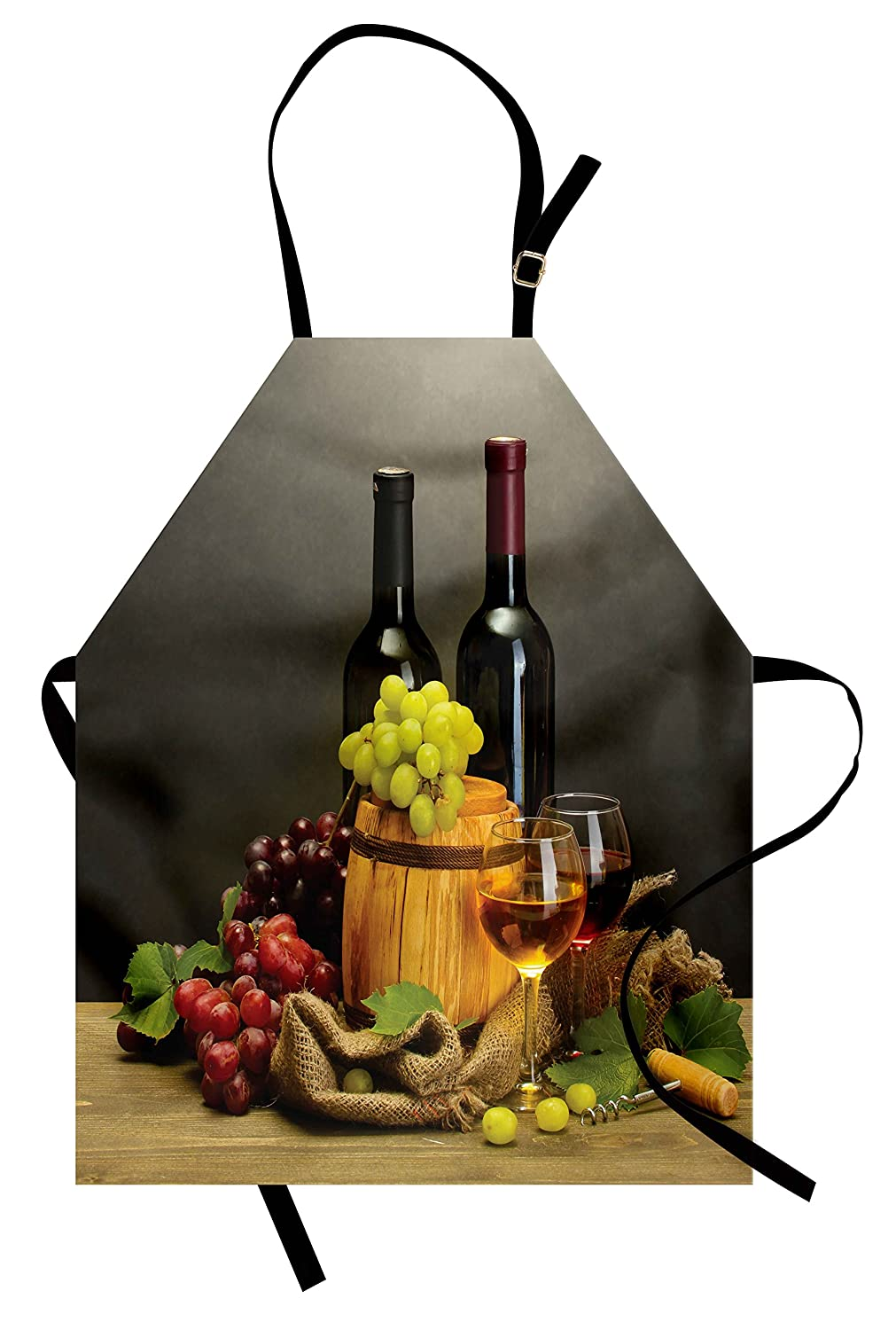 Ambesonne Winery Apron, Barrel Bottles and Glasses of Wine and Ripe Grapes on Wooden Table Picture Print, Unisex Kitchen Bib Apron with Adjustable Neck for Cooking Baking Gardening, Multicolor